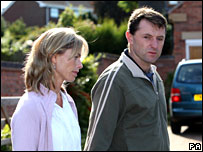 Kate and Gerry McCann outside their house in Rothley
