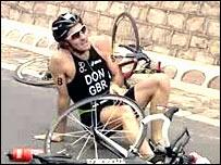 Tim Don crashes in Beijing (courtesy of triathlon.org website)