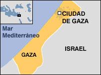 Mapa de la Franja de Gaza
