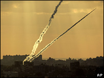 Two rockets are fired from Gaza head towards Israel (May 2007)