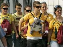 Disgruntled Australia fans leave the Chengdu Sports Centre