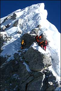 mountaineers approaching top of Everest