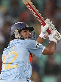 Yuvraj produced an awesome show of clean hitting to stun England