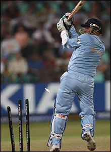 Virender Sehwag is bowled by Chris Tremlett