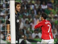 Cristiano Ronaldo celebrates his winner for Man Utd in Lisbon