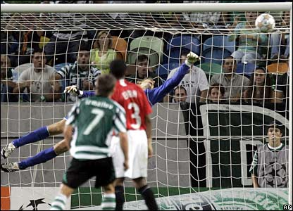 Liedson's shot is saved by Edwin van der Sar