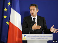 French President Nicolas Sarkozy speaking in Nantes