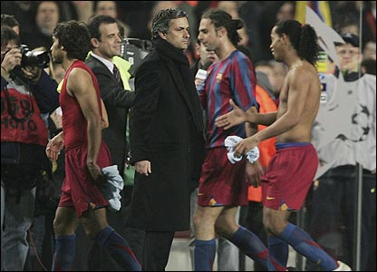 Jose Mourinho at the Nou Camp in 2006