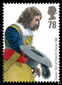 Royal Mail stamp: Trooper Earl of Oxford's Horse 1661