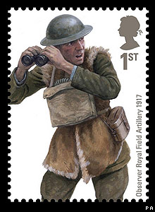 Royal Mail stamp: Observer Royal Field Artillery 1917