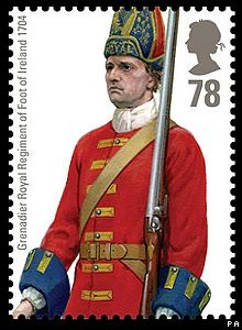 Royal Mail stamp: Grenadier Royal Regiment of Foot of Ireland 1704