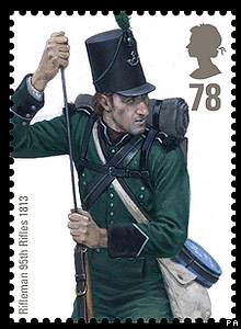 Royal Mail stamp: Rifleman 95th Rifles 1813