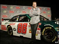 Dale Earnhardt Junior with his new Nascar car on 19 September