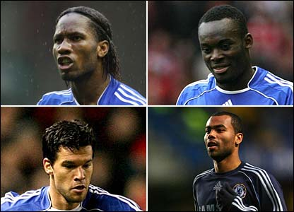 (L-R) Didier Drogba, Michael Essien, Michael Ballack and Ashley Cole