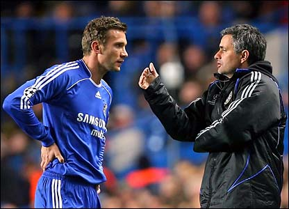 Andriy Shevchenko in discussion with Jose Mourinho