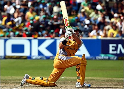 Matthew Hayden hits the winning runs for Australia