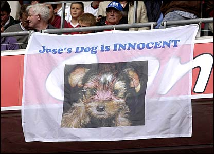 A banner in the crowd