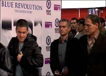 Jose Mourinho attends the launch of 'Blue Revolution', a film history of the club