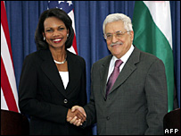 US Secretary of State Condoleezza Rice and PA President Mahmoud Abbas (20 September 2007)