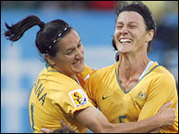 Australia's Lisa De Vanna (left) and goalscorer Cheryl Salisbury