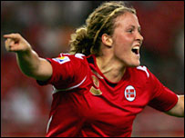 Norway's Isabell Herlovsen celebrates