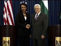 Condoleezza Rice meet Mahmoud Abbas in Ramallah