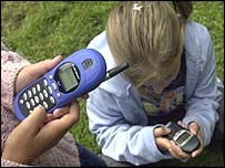 Children with mobile phones