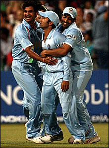 India celebrate the dismissal of Graeme Smith