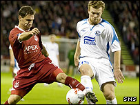 Aberdeen's Jamie Smith in action against Dnipro