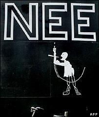 Dutch graffiti urging vote against European constitution in June 2005