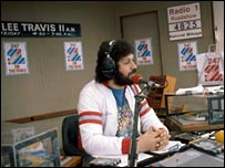 Dave Lee Travis on the road in 1977