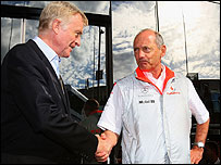 FIA president Max Mosley and McLaren boss Ron Dennis shake hands in a photo opportunity at the Belgian Grand Prix