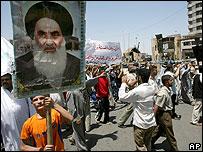 Man carried poster of Grand Ayatollah Ali Sistani