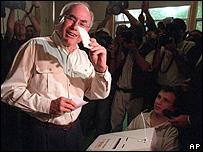 Australian Prime Minister, John Howard voting