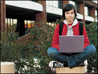 Student using laptop, BBC