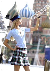 A Russian model wearing tartan