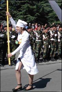 Nurse with flag