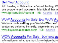 Screengrab of search for account selling sites, BBC