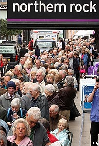Queues of worried savers outside a Northern Rock branch