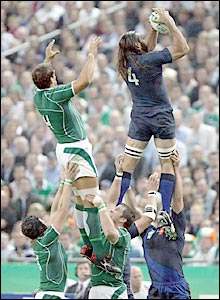 Chabal, playing in the second row rather than at number eight, soars to take a line-out