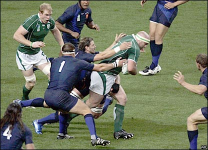 Ireland prop John Hayes takes on the French defence in the second half in Paris