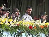 President Ahmadinejad and military leaders
