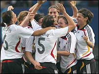 Germany Women celebrate a goal