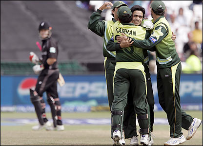 Alam celebrates his wicket
