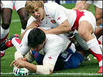 Martin Corry scored England's first try against Samoa