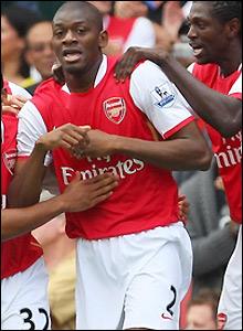 Diaby celebrates his goal
