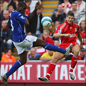 Steven Gerrard puts a cross in for Liverpool