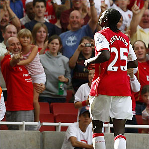 Adebayor receives the adulation of the fans