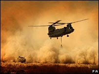 Chinook helicopter re-supplying a base in Helmand province (Pic: Sean Clee/MoD Crown Copyright/PA)