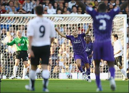 Petrov celebrates his goal